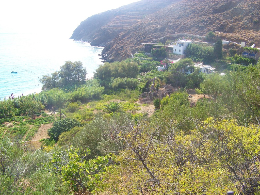 Vue vers  Levrossos (Amorgos)