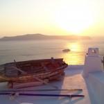 santorin, au coucher de soleil