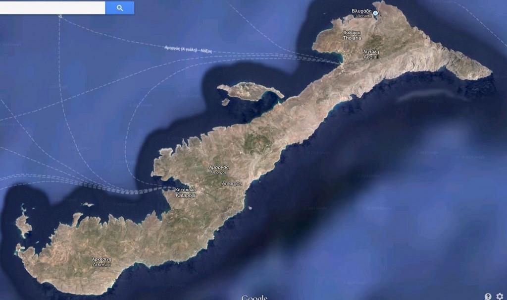 Carte d'Amorgos (Cyclades)