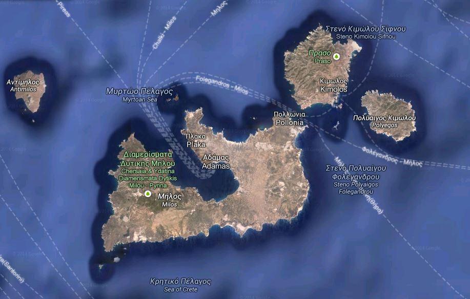 Carte de Milos (Cyclades, Grece)